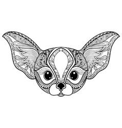 Zentangle stylized desert Fox Hand Drawn isolated vector image