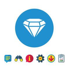 Diamond sign icon jewelry symbol gem stone vector