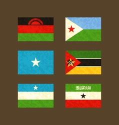 Flags of malawi djibouti somalia mozambique vector