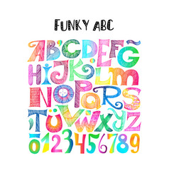 funky abc sketchy letters and numerals vector image