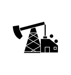 oil pump jack icon black vector image