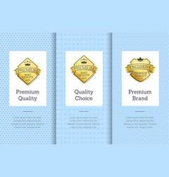 premium brand quality choice gold label guarantee vector image