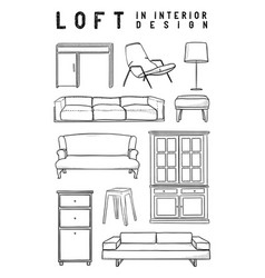 set of 10 interior items in loft style in the vector image vector image