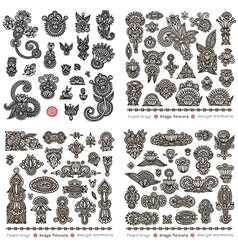 Set of black flower design vector image vector image