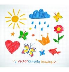 Summer felt pen child drawing vector image vector image