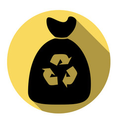 trash bag icon flat black icon with flat vector image vector image