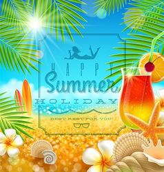Tropical summer vacation greetings design vector