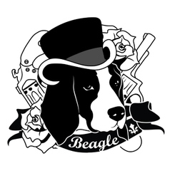 Beagle Portrait Isolated vector image