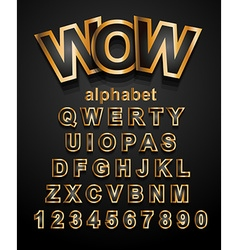 Christmas Golden Alphapet Font to use for vector image vector image