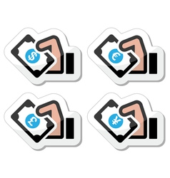 Hand with money icon vector image vector image