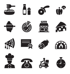 pizza house icons set vector image