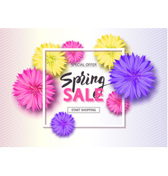 spring sale background with flowers season vector image