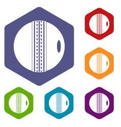 Black and white cricket ball icons set hexagon vector
