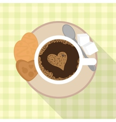 Cup of coffee with cookies and sugar vector image vector image