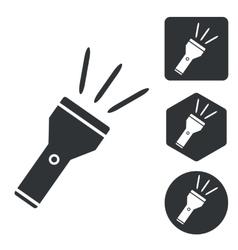 Flashlight icon set monochrome vector