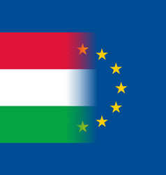 Hungary national flag with a star circle of eu vector
