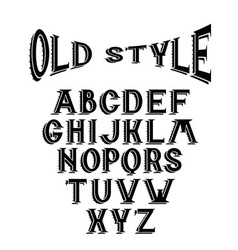 old style alphabet for labels vector image