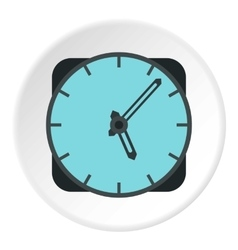 Wall mounted round clock icon flat style vector