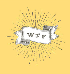 wtf outline wtf icon in vintage hand drawn ribbon vector image