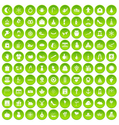 100 festive day icons set green circle vector