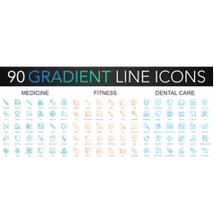 90 trendy gradient thin line icons set of vector image