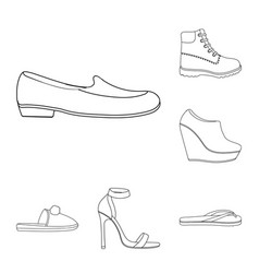 a variety of shoes outline icons in set collection vector image