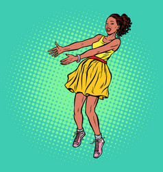 African woman outstretched hands vector