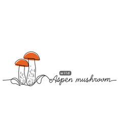 aspen wild mushroom simple line vector image