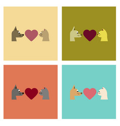 Assembly flat icons cat dog heart vector