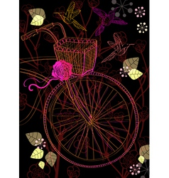 Background with bike and birds vector image