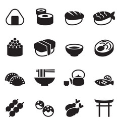 basic japanese food icons set vector image