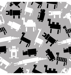 Black and white digital retro animals pattern vector
