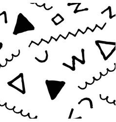 black and white doodle seamless pattern vector image