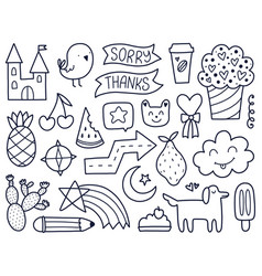 black doodles vector image