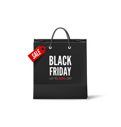 black friday concept black paper bag with tag vector image