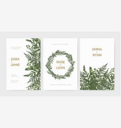 bundle elegant stylish wedding invitation vector image