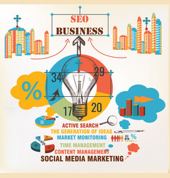 business infographic background seo social media vector image