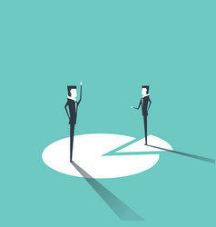 businessmen standing on chart vector image