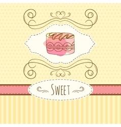 cake hand drawn card vector image