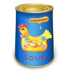 Can condensed magic chicken soup vector