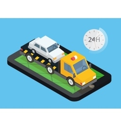 Car towing truck online roadside assistance vector image