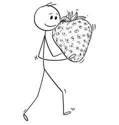 Cartoon of man carrying big ripe strawberry fruit vector