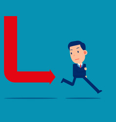 chart fall and following business person stress vector image