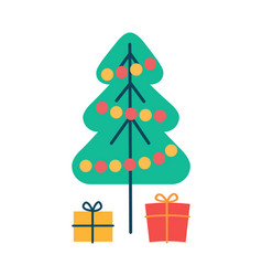 christmas pine tree and gifts vector image