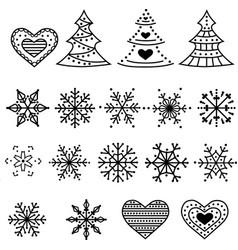 christmas symbols collection isolated on white vector image