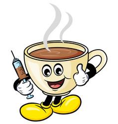 Coffee is my vaccine cartoon vector