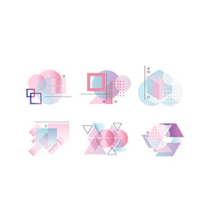 collection abstract badges various geometric vector image