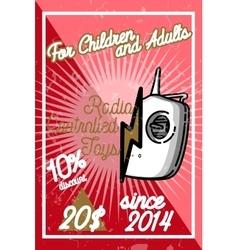 Color vintage radio controlled toys emblem vector