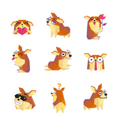 corgi dog cartoon character icons collection vector image