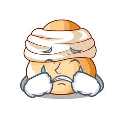 Crying semla swedish cream bun on cartoon vector